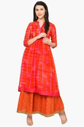 Womens Flared Poly Cotton Kurta