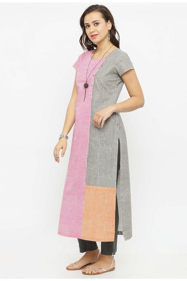Women Cotton Geometric print Straight Kurta