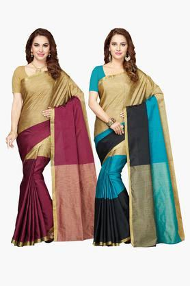 ISHIN Womens Bhagalpuri Art Silk Printed Saree - Set Of 2 - 203260383