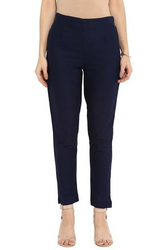 Womens Cotton Flex Solid Straight Pant