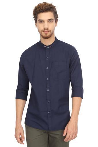Mens Band Collar Solid Casual Shirt
