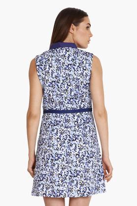 Womens Collared Printed Short Dress