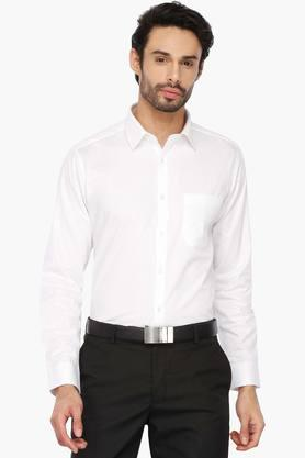 Mens Regular Collar Self Pattern Shirt