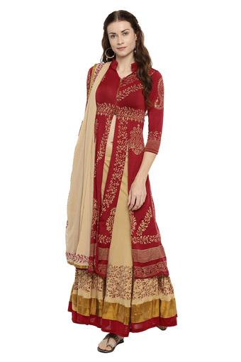 Womens Mandarin Collar Printed Lehenga Choli and Dupatta Set