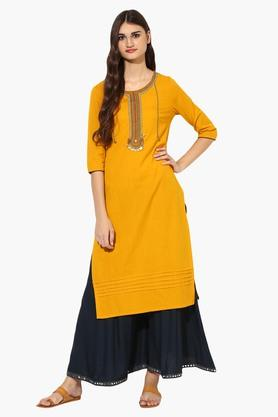 JUNIPER Womens Round Neck Sequined Kurta