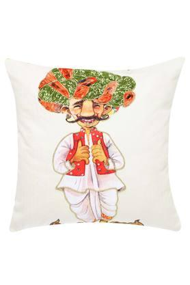 Square Turban Man Printed Embroidered Cushion Cover