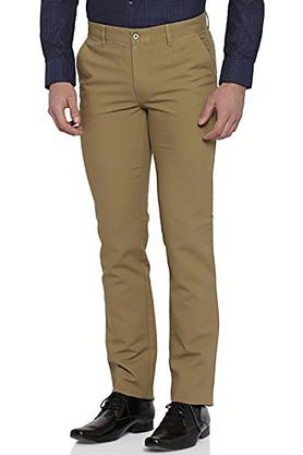 Mens Slim Fit 4 Pocket Solid Trousers