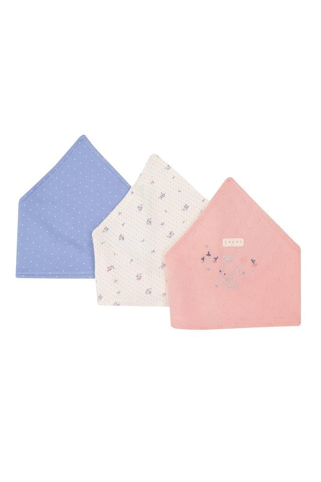 Girls Printed and Dot Pattern Bibs - Pack Of 3