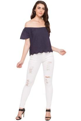 Womens Off Shoulder Neck Embroidered Top