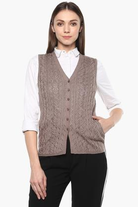 APSLEY Womens V Neck Slub Cardigan