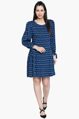 Womens Round Neck Dot Pattern Short Dress