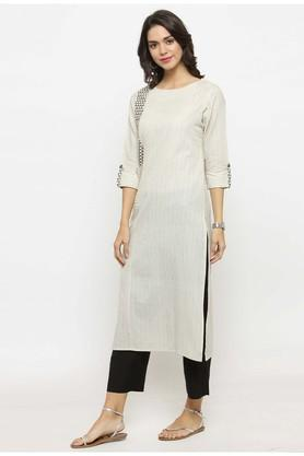 Women Cotton Geometric print Straight Kurta