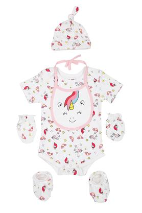 Girls Round Neck Printed Babysuit with Socks Gloves Cap and Bib