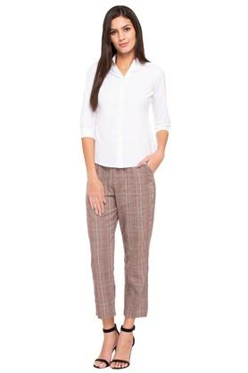 Womens 2 Pocket Checked Trousers