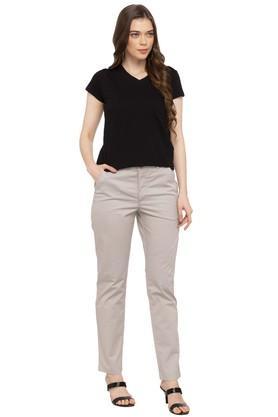 Womens 4 Pocket Solid Formal Pants