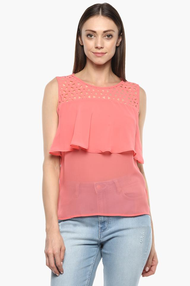 Womens Round Neck Solid Sheer Yoke Top