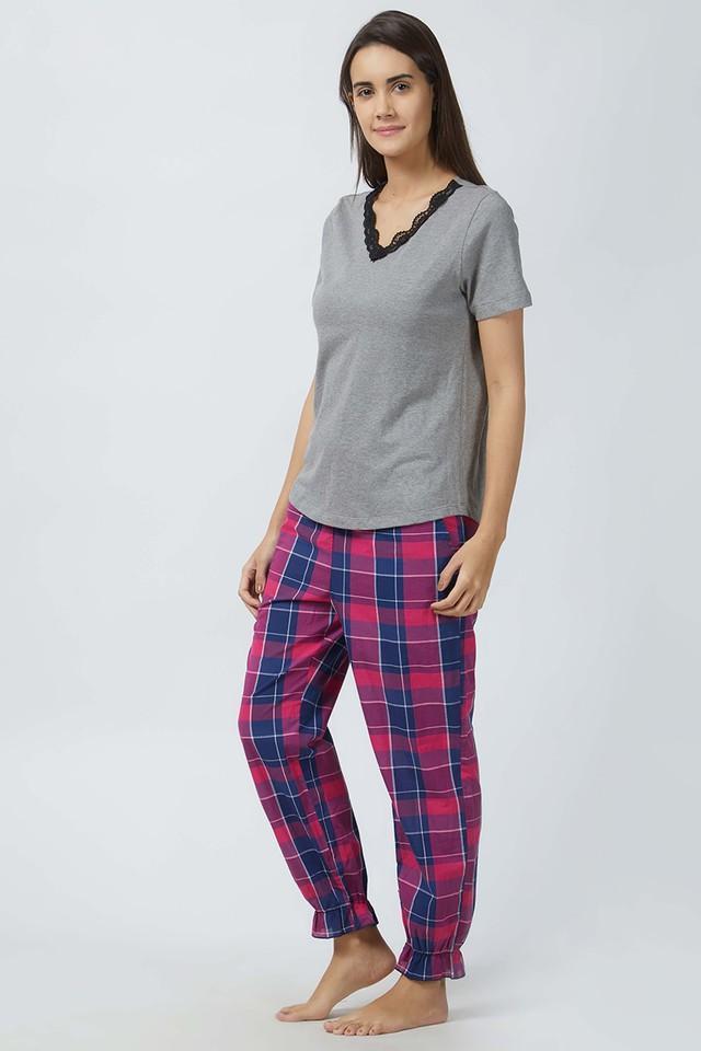Womens V-Neck Solid Top and Checked Pyjama Set