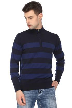 IZODMens Zip Through Neck Striped Sweater