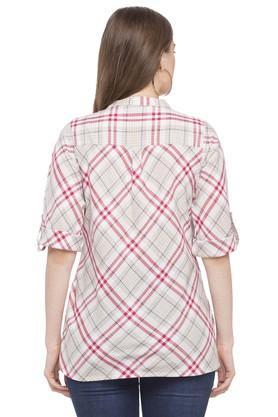 Womens Mandarin Collar Checked Top