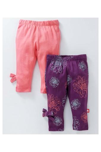Girls Regular Fit Printed and Solid Leggings Pack of 2