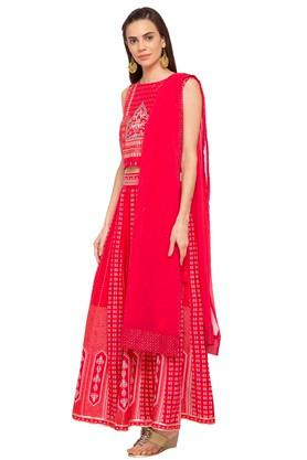 Womens Round Neck Printed Ghaghra Choli Dupatta Set