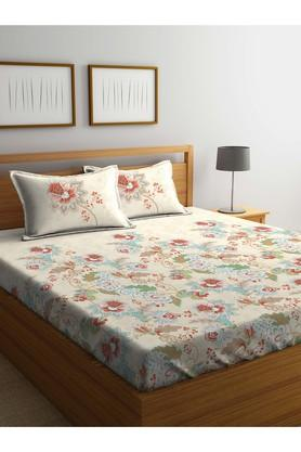 PORTICO Floral Printed Double Bed Sheet With Pillow Cover - 203989986_9900