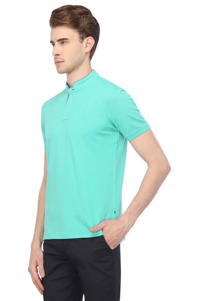 Mens Mandarin Collar Solid T-Shirt