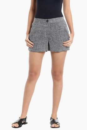 Womens 2 Pocket Textured Shorts