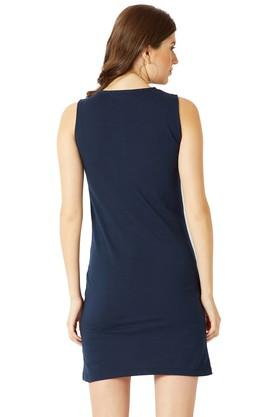 Womens Round Neck Solid Cut-Out Mini Shift Dress