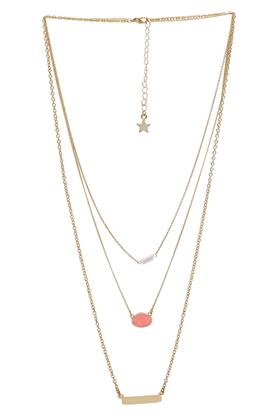 Womens Layered Gold Plated Necklace