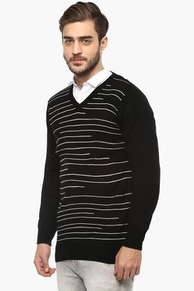 Mens V Neck Stripe Sweater