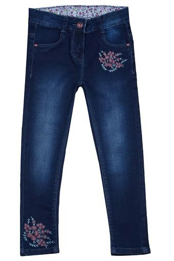 Girls Mid Rise Embroidered Jeans