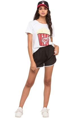 Womens Solid Shorts