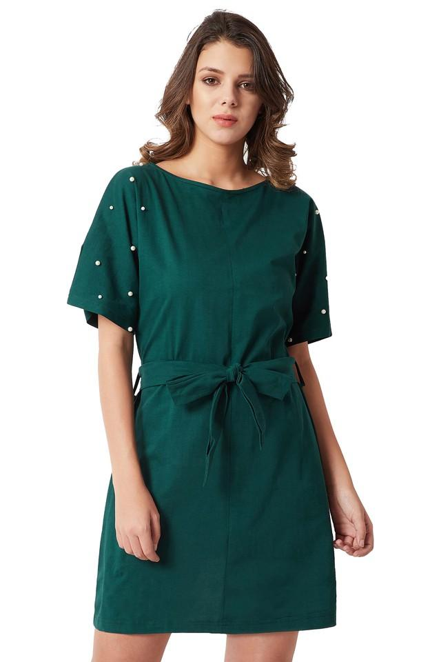 Womens Relaxed Fit Round Neck Solid Embellished Belted Shift Dress