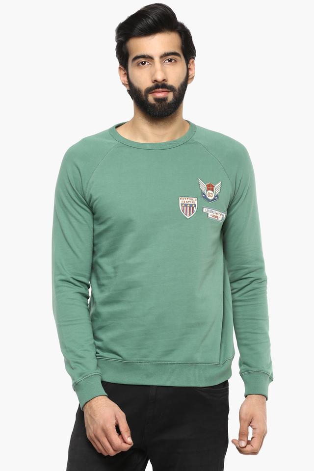 Mens Round Neck Slub Sweatshirt