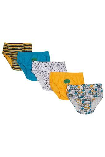 Boys Printed Striped and Solid Briefs - Pack of 5
