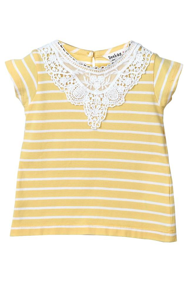 Girls Round Neck Lace Tee