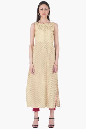 INDYAWomens Round Neck Printed Regular Fit Kurta - 203316720