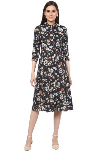 Womens Floral Print Shirt Dress