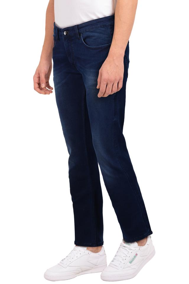 Mens 5 Pocket Whiskered Effect Jeans