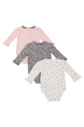 Kids Round Neck Printed and Solid Babysuit - Pack Of 3