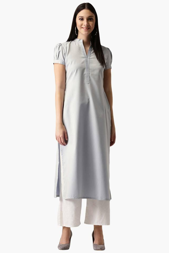Womens Polyester Solid A-Line Kurta with Pockets
