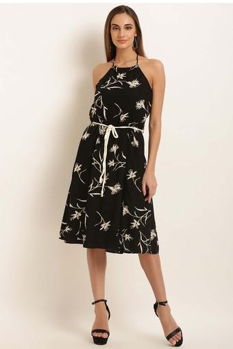 Womens Halter Neck Printed Flared Dress