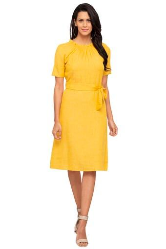 Womens Ruffled Collar Slub A-Line Dress