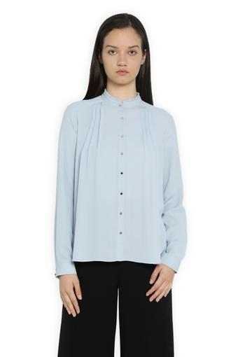 Women Mandarin Collar Solid Shirt