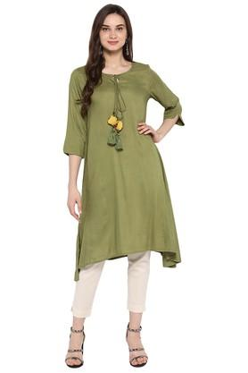 JUNIPER Womens Olive Asymmetric Kurta With Pant