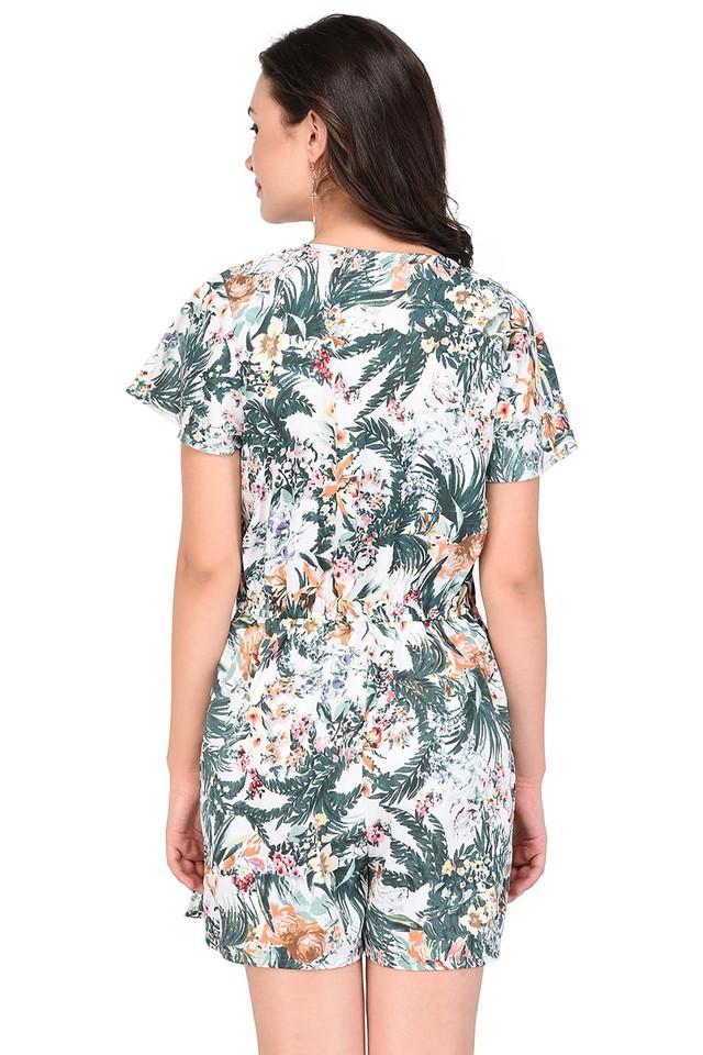 Womens Surplice Neck Printed Jumpsuit