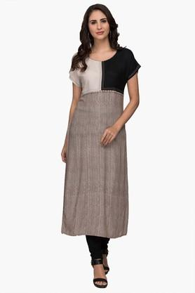 IMARA Womens Round Neck Colour-blocked Kurta