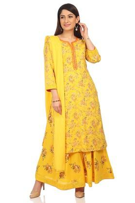 BIBA Womens Round Neck Printed Kurta, Skirt And Dupatta Set