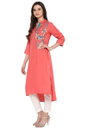 Womens Embroidered High Low Kurta with Pant
